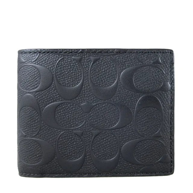 【COACH】立體壓印LOGO黑色皮革雙折式短夾(附獨立卡夾)