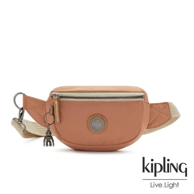 【KIPLING】活力珊瑚橘小巧簡約腰包-JOSU