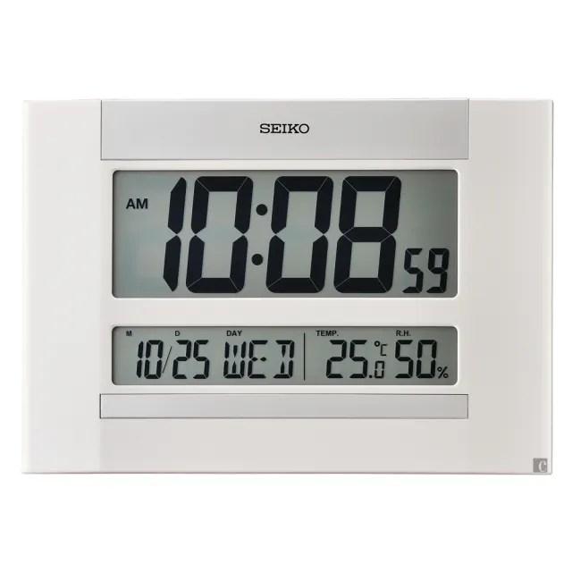 【SEIKO 精工】溫溼度顯示 座掛兩用電子鐘(QHL088W)