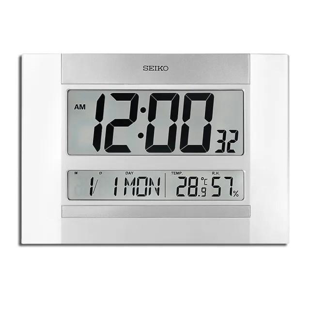 【SEIKO 精工】大字幕 日期 溫溼度顯示 座鐘 掛鐘 電子鐘(銀白色 / QHL088W)