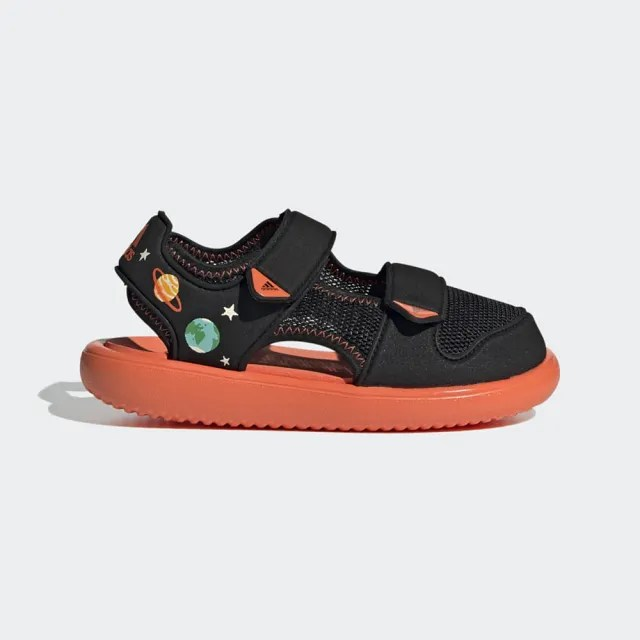 【adidas 愛迪達】童鞋 小童 中童 運動 魔鬼氈 WATER SANDAL CT C 黑橘 GX2473