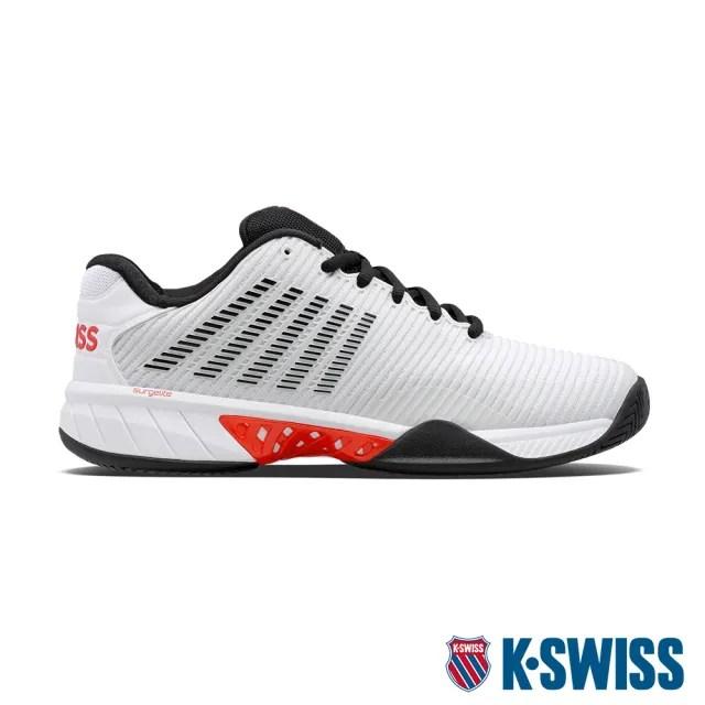 【K-SWISS】透氣輕量網球鞋 Hypercourt Express 2-男-白/黑/紅(06613-405)