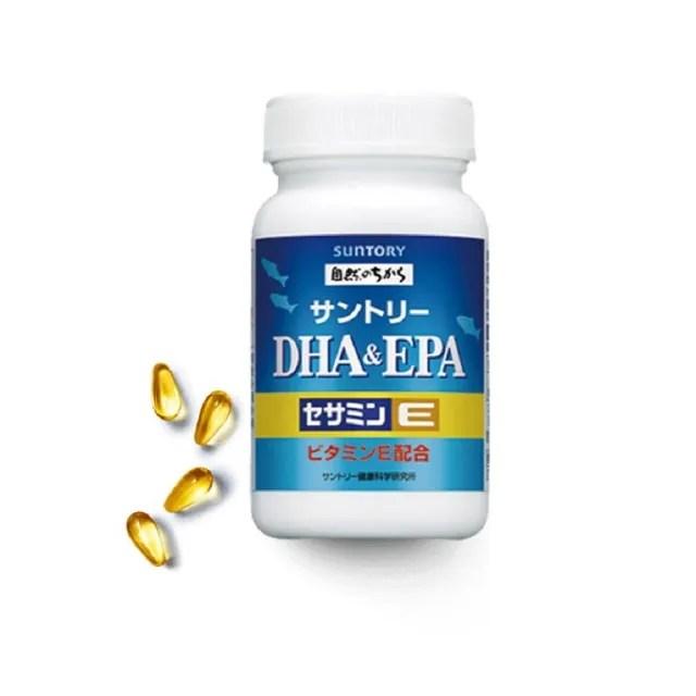 【Suntory 三得利】魚油DHA&EPA+芝麻明E 120顆/瓶(添加維生素D)