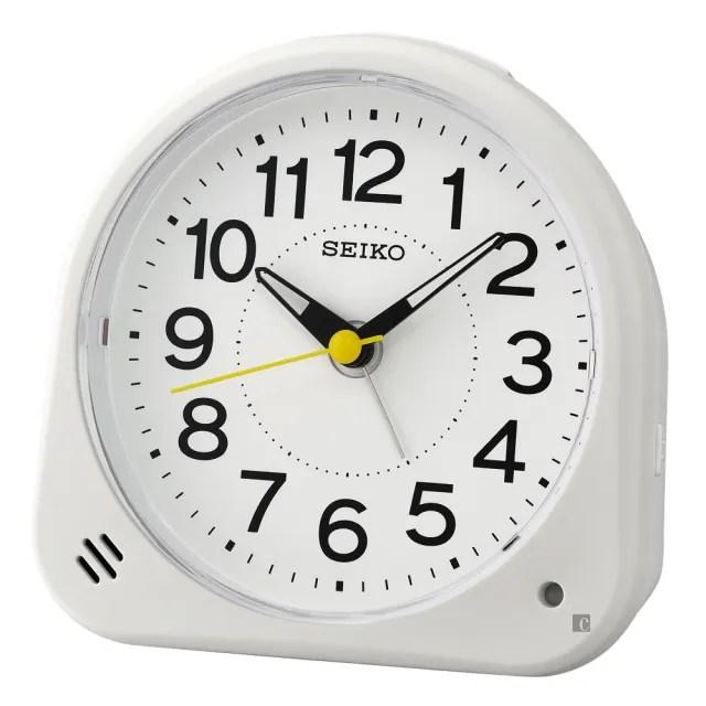 【SEIKO 精工】御飯糰 滑動式秒針 持續燈光靜音鬧鐘(QHE188W)