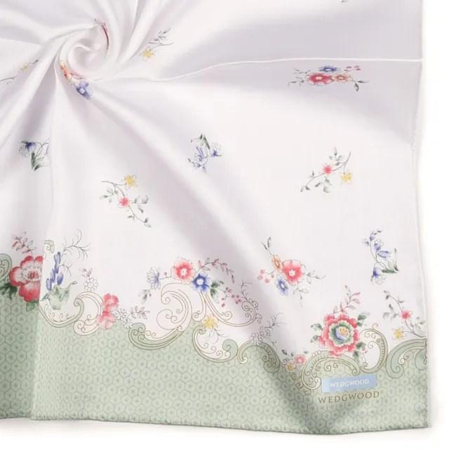 【WEDGWOOD】Rococo Flowers洛可可花系列純綿帕巾領巾(粉綠色)