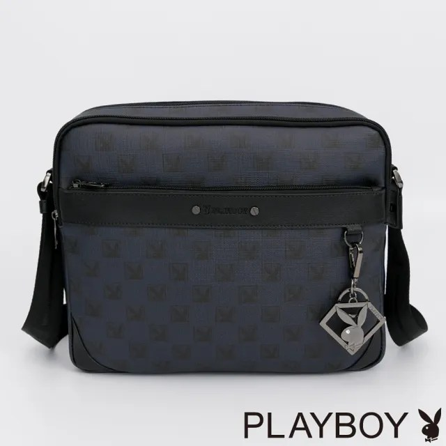 【PLAYBOY】斜背包-大 PZG方塊遊戲系列(深藍色)