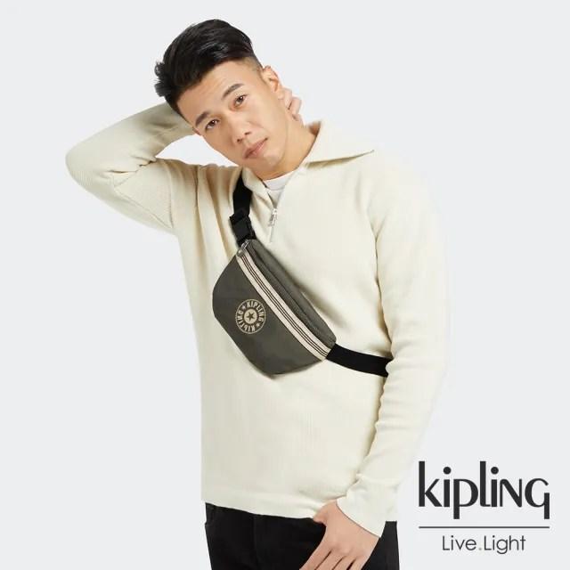 【KIPLING】深焙烏龍綠潮流簡約隨身腰包-FRESH LITE