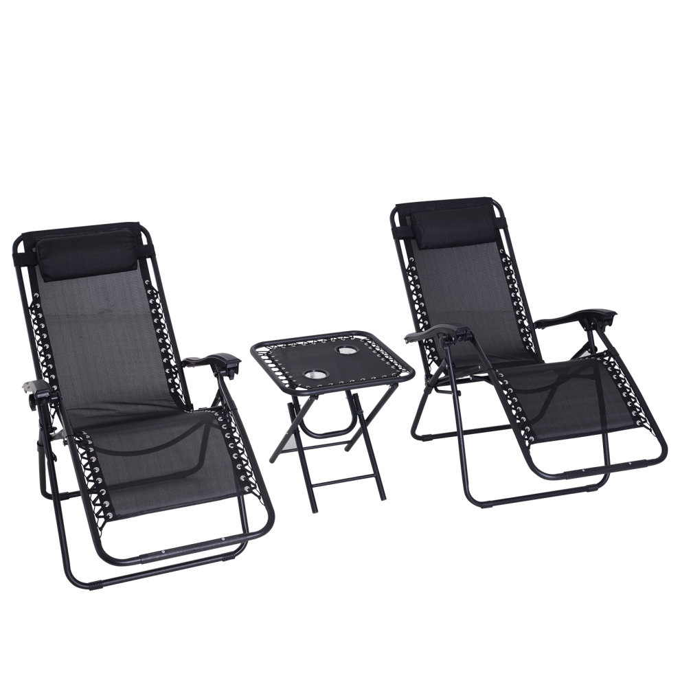 Zero Gravity Chair Recliner Outsunny 3pcs Reclining Folding Garden Zero Gravity Chairs Sun Lounger Set With Table Cup Holders Yard Pool Black