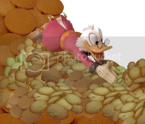 scrooge mcduck diving into a pile of nilla wafers