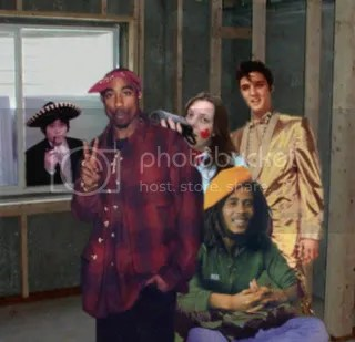 rachel in tom's basement with her friends tupac, bob marley and elvis