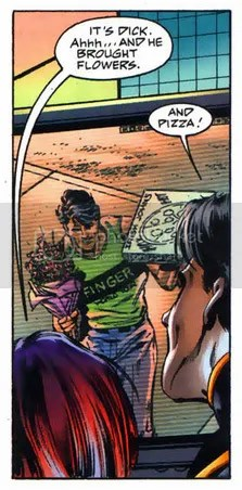 i'm a little in love with dick grayson for bringing barbara gordon pizza