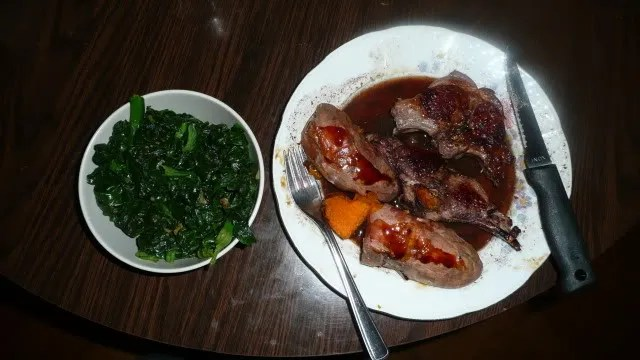 Marinated chops, wine sauce, and spinach