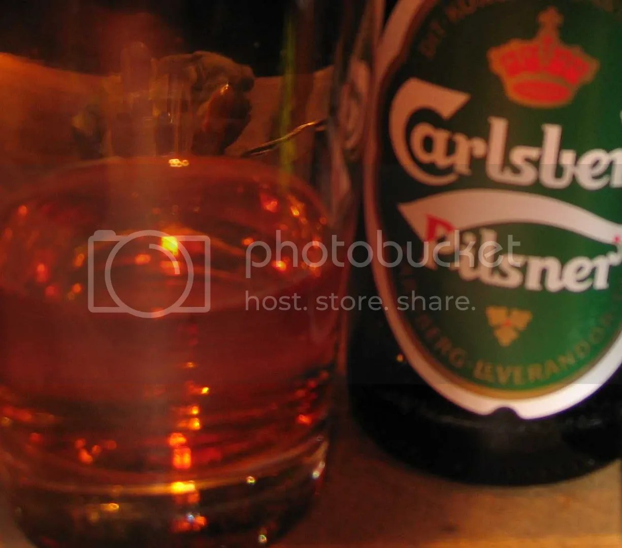 Carlsberg bottle and glass
