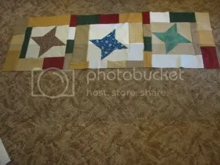 The three friendship star blocks I finished.  They were from a swap last year and I added the borders to the basic star block.