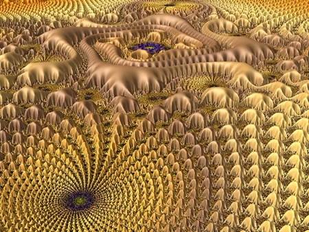 Golden Mandelbrot Landscape by Duncan C