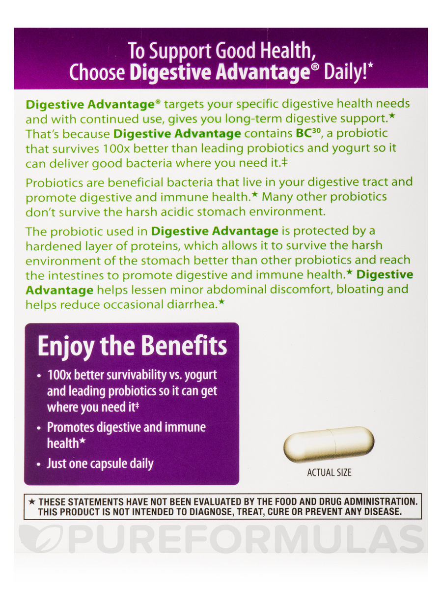 Digestive Advantage Daily Probiotic  30 Capsules