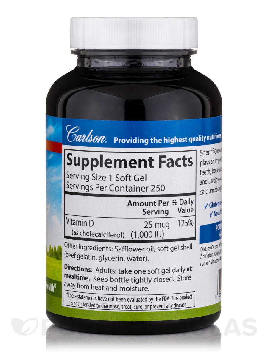 Vitamin D3 1,000 IU - 250 Soft Gels