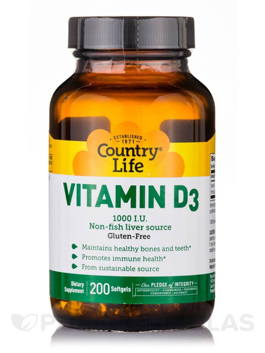 Vitamin D3 1000 IU - 200 Softgels