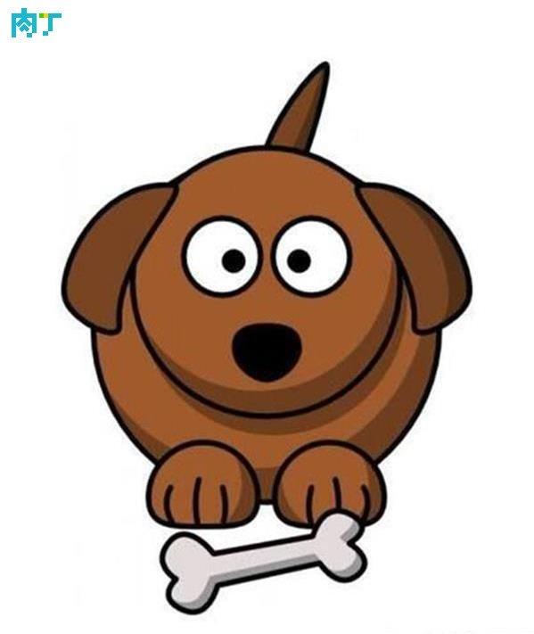 可愛的卡通狗簡筆畫的填色 簡易的動物卡通畫 - 壹讀