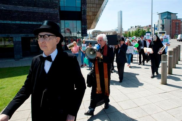 Dave Green on a protest march in Cardiff Bay