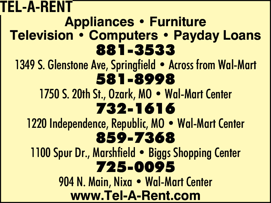 Tel A Rent Springfield MO 65804
