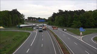 Unfall A33 Bielefeld - Lastwagen prallt in Windradflügel auf Schwertransporter