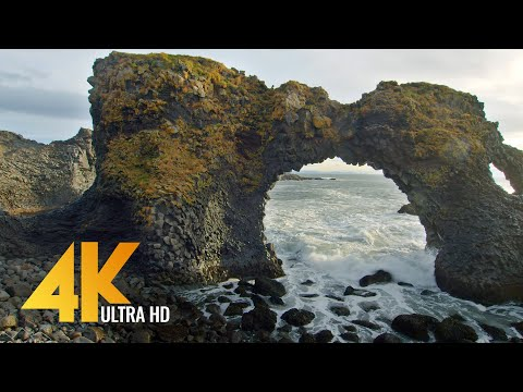 The Beauty of Icelandic Black Sand Beaches - 4K Nature Relax Video with Ocean Waves Sounds - 3 HRS