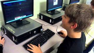 A pupil playing minecraft