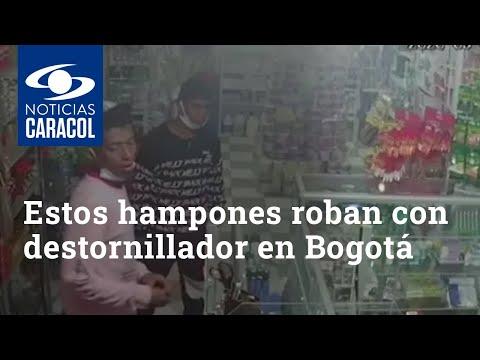 Véalos bien: estos hampones usan un destornillador para amenazar a sus víctimas en Bogotá