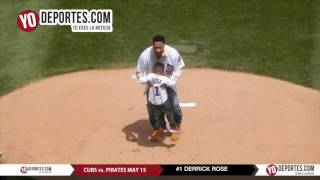 Derrick Rose son P.J. throw first pitch Cubs vs Pittsburgh Pirates