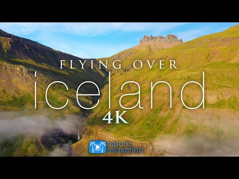 FLYING OVER ICELAND (4K) 1HR Ambient Drone Film + Music by Nature Relaxation™ for Stress Relief
