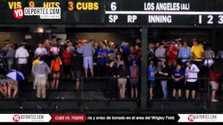 Tornado warning Cubs vs Detroit Tigers rain delay august 18 2015