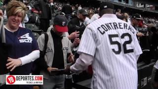 Jose Contreras lanza la primera bola en Chicago