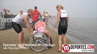 Ejemplar niña triatleta en Life Time Kids Tri Chicago