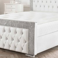 Valencia Crushed Velvet Leather Glitter Bed Frame on OnBuy
