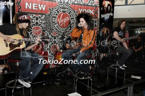 Tokio Hotel performing at Virgin Megastore