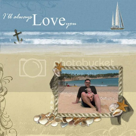 songs of the sea digital scrapbooking kit for summer vacation, summer fun, with glitter elements, lighthouse, sunshine, message in a bottle, anchor, mandolin, palm trees, surf car, blossoms, hearts, jewels, beach ball, butterfly, tags, sailboat, shells, net, grungy overlays and more