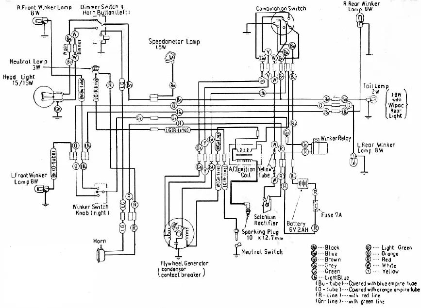 wiring diagram of honda cl 100 motorcycle