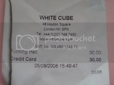 white cube receipts