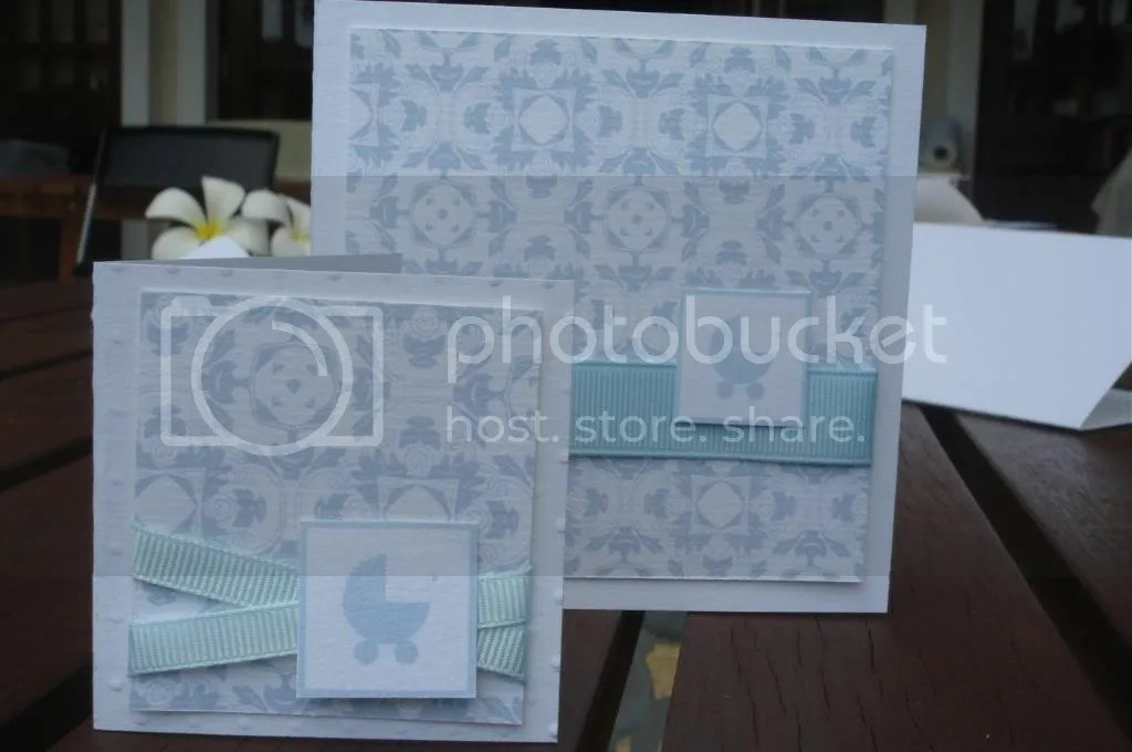 Minicard in Blue - the little baby carriage image can be changed to a cupcake for other occasions