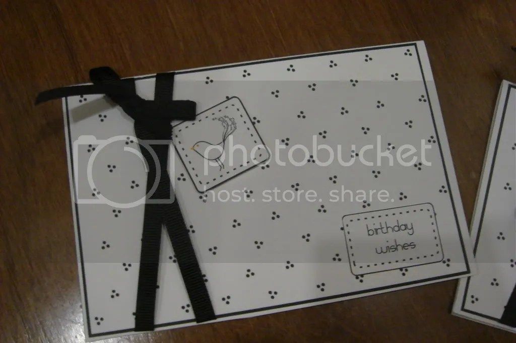 Black & White Birdie card with grosgrain ribbon