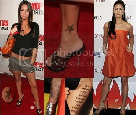 Presented below are the pictures of Megan Fox tattoos.