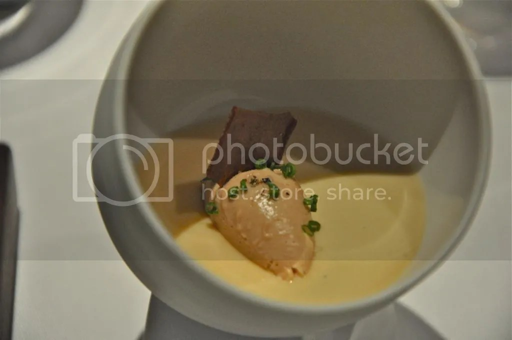 Chicken liver parfait in a crayfish cream with jelly of quail