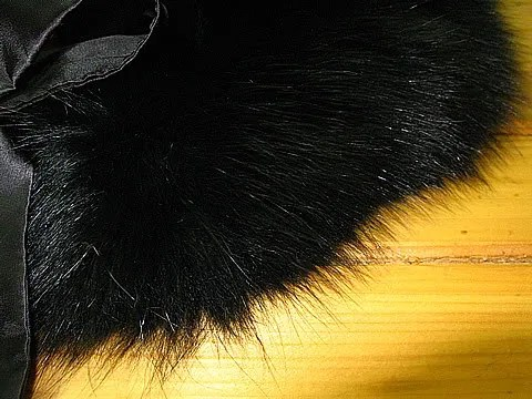 Black fox fur collar.