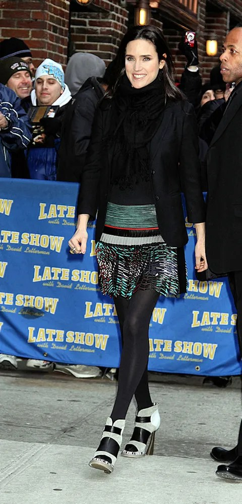 Jennifer Connelly pic in Balenciaga at David Letterman show