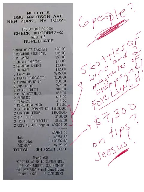 Roman Abramovich's $47,221 Lunch Tab at Nello's