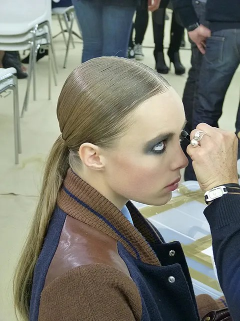 Edie Campbell backstage at Chanel spring summer 2011