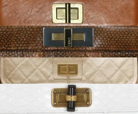 Chloe, Fendi, Chanel, Lanvin handbag clasps