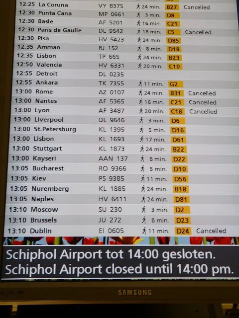 Amsterdam Schiphol Airport Closed due to Ash Cloud