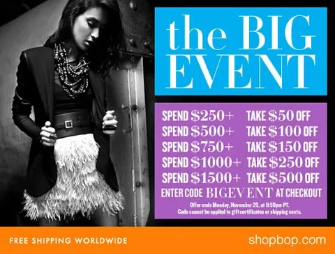Shopbop Big Event Promo Code: BIGEVENT